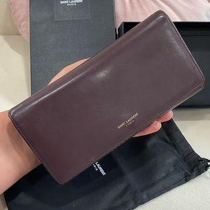 Burgundy YSL long wallet